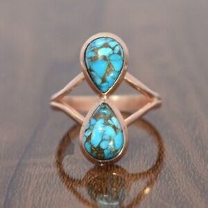 925 Sterling Silver Blue Copper Turquoise WITH Rose Gold Ring Jewelry US 6 TA-28