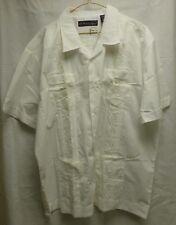 Havanera Guayabera Short Sleeve Mens White Wedding Cigar Casual Shirt Sz XL NWT