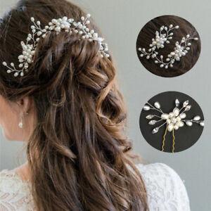 2pcs Bridal Headpiece Pearls Crystal Headdress Hair Clips Pin Hair Grips Wedding