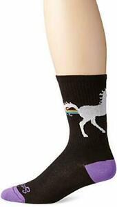 SockGuy Unicorn Express Cycling/Running Socks, Black/Rainbow, Multiple Sizes