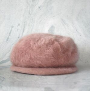 Override Pink Angora Fur Newsboy Cap Size M