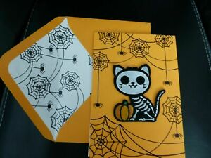 Papyrus Halloween Card - Cat Skeleton Removable sticky fabric patch sticker