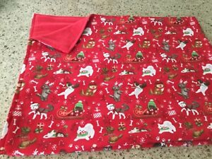 Handmade Christmas flannel pet blanket, playful dogs!