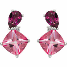 1ct Cushion Cut Pink Sapphire Gorgeous Stud Earrings Women 14k White Gold Over