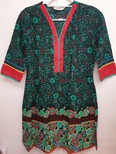BIBA GREEN MULTI TUNIC KAFTAN DRESS HIPPIE FOLK - SIZE 34