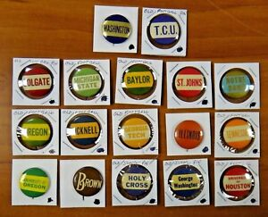 Lot of 17 Vintage College Football Pins Pibacks Buttons 1940's