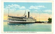 Lake George NY - STEAMER SAGAMORE AT TROUT PAVILION DOCK - Postcard