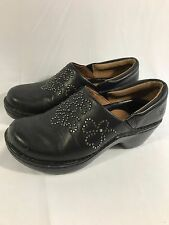 Ariat Studded Clogs Soft Black Leather Slip-Ons Loafers Mocs Shoes Womens Sz 6.5