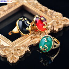 Gold Flower Oval Smooth Cubic Zirconia Rings For Women Size Adjustable Jewelry