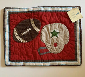 New NWT Pottery Barn Kids 12 X 16 Throw Quilted Pillow Cover Football Chambray
