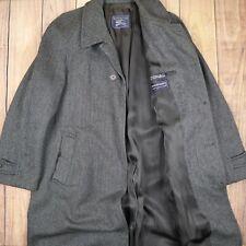 Burberry Mens Vintage Trench Coat Long Blazer Shetland Tweed Grey Size L