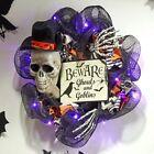 Lighted Halloween Wreath Vintage Skull Skeleton BEWARE Front Door Wall Art Decor