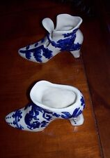 Pretty Pair Victorian Style Blue White Fancy High Heel Ceramic Porcelain Shoes