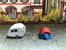 Suitable Marklin spur z scale/gauge. 2 Berth Caravan & Small Tent.