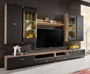 CLIFFORD -  ELEGANT WALL UNIT SET WITH LED LIGHTS , FAST DELIVERY