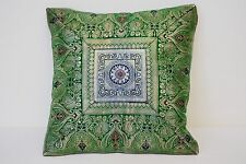 KASHMERE 100% SILK OLIVE GREEN FLORAL PILLOW COVER CASE  SIZE 11''X 11''