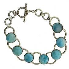 Gorgeous Ocean Blue Larimar Bracelet Sterling Silver Jewelry Gemstone