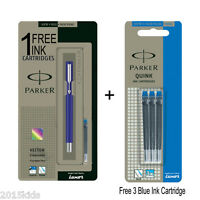 Parker Vector Estándar CT Fuente Fino Ss Pluma de Tinta Azul Cuerpo + 7 Cartucho