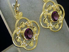 E051 Genuine 9ct Yellow Gold NATURAL Rhodolite Garnet & Diamond Drop Earrings