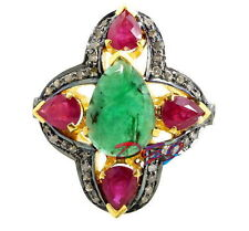 Cut Victorian Ruby Emerald Flower Jewelry 925 Sterling Silver Diamond Ring Rose