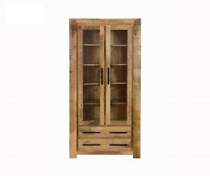 MADE TO ORDER AVALON INDIAN WOODEN DISPLAY CABINET ZEN RUSTIC 100x40x200cm