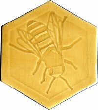 Hexagonal Honey Bee (Rgt)  Tile, in Honey coloured glaze, handmade in  U.K.