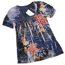 CASUAL FREEDOM Top M Short Sleeve Purple Floral Sublimation Boho Silk Blend NEW
