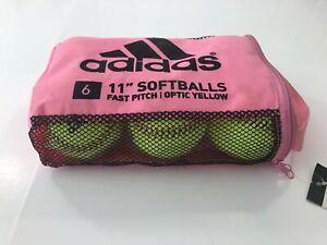 """Adidas Official League Optic Yellow 11"""" Softballs Dick's Sporting Goods 6 Pack"""