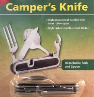 CAMPERS KNIFE WITH FORK, SPOON AND CAN OPENER ,HIGH CARBON STAINLESS, SEPERATES