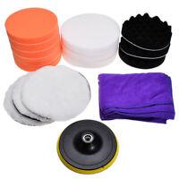 "18Pcs 7"" Buffing Sponge Foam Polishing Pad Kit Set Car Polisher Buffing Cleaner"