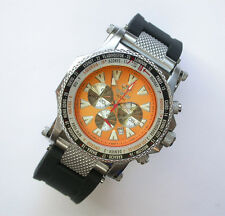 NEW $525 REACTOR 45MM TANGERINE DIAL SS PROTON CHRONOGRAPH WT 200M WATCH #91808