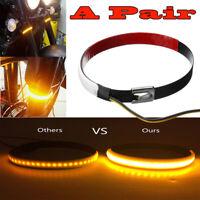 2PCS Motorcycle Car Fork LED Strip Tail Turn Signal Indicator Light Blink