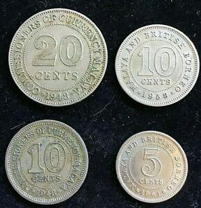 Malaya 1948 20 & 10, 1958 10 , 1961 5  Cent , 5 CENT IN HIGH GRADE.