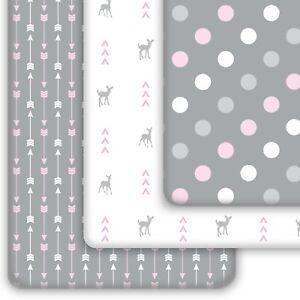 Pack N Play Sheets 3-Pack | Mini Crib Sheets Set for Playard Mattress, Pink Grey