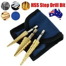3pcs HSS Step Cone Drill Titanium Steel Metal Hole Cutter Bit Set Pouch