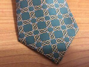 "Hermes Paris Necktie 100% Silk 7300 EA Circles 57"" X 3.25"" Belt Chainlink."