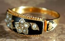Victorian (1896) 15ct Gold Black Enamel Diamond Mourning Ring Valued £850