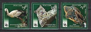 RUSSIA,USSR: 2007 SC#7046-48 MNH WWF Ciconia boyciana Uncia uncia Bison mr01