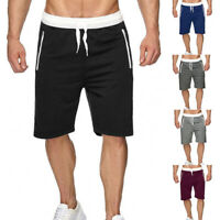 Men's Summer Sweat Shorts Zip Pockets Fleece Sweatpants Lounge Gym Casual M-XXL