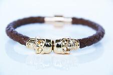 Goldener Totenkopf braunes Lederarmband Gold Skull brown Leather Magnet Bracelet