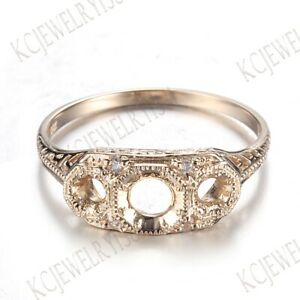 4.5mm & 2.7mm Round Cut Semi Mount Real Diamonds Solid 14K Yellow Gold Ring