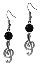 Fashion Dangle Drop Earrings Silver Musical Note Black Or Red Grace Of New York