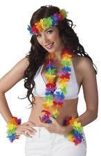Collier hawaïen bandeau et 2 bracelets deguisement homme femme fleurs accessoire