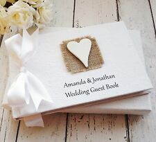 PERSONALISED WEDDING GUEST BOOK IN BOX ~ RUSTIC HESSIAN WOODEN HEART DESIGN
