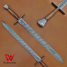 DAMASCUS hand forged sword with leather sheath