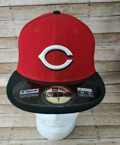 New Era Cincinnati Reds 59Fifty 7 Fitted Hat Cap Cool Base Official On-Field