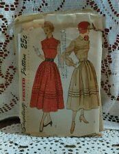 Simplicity 3075 Pattern Sz 13 Bust 31 1949 Junior Misses One Piece Dress Mad Men
