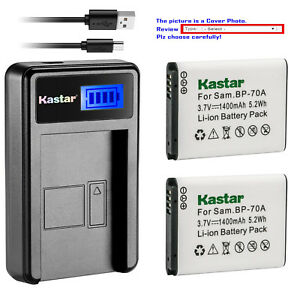 Kastar Battery USB LCD Charger for Samsung BP-70A & Samsung TL205 WB30F Camera