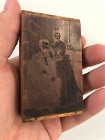 Antique Copper Metal Printing Block Plate Adult Couple Man Woman