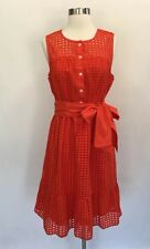 New JCrew All-over eyelet dress sleeveless A-line Cerise/ Red Sz 6 J1608 $128